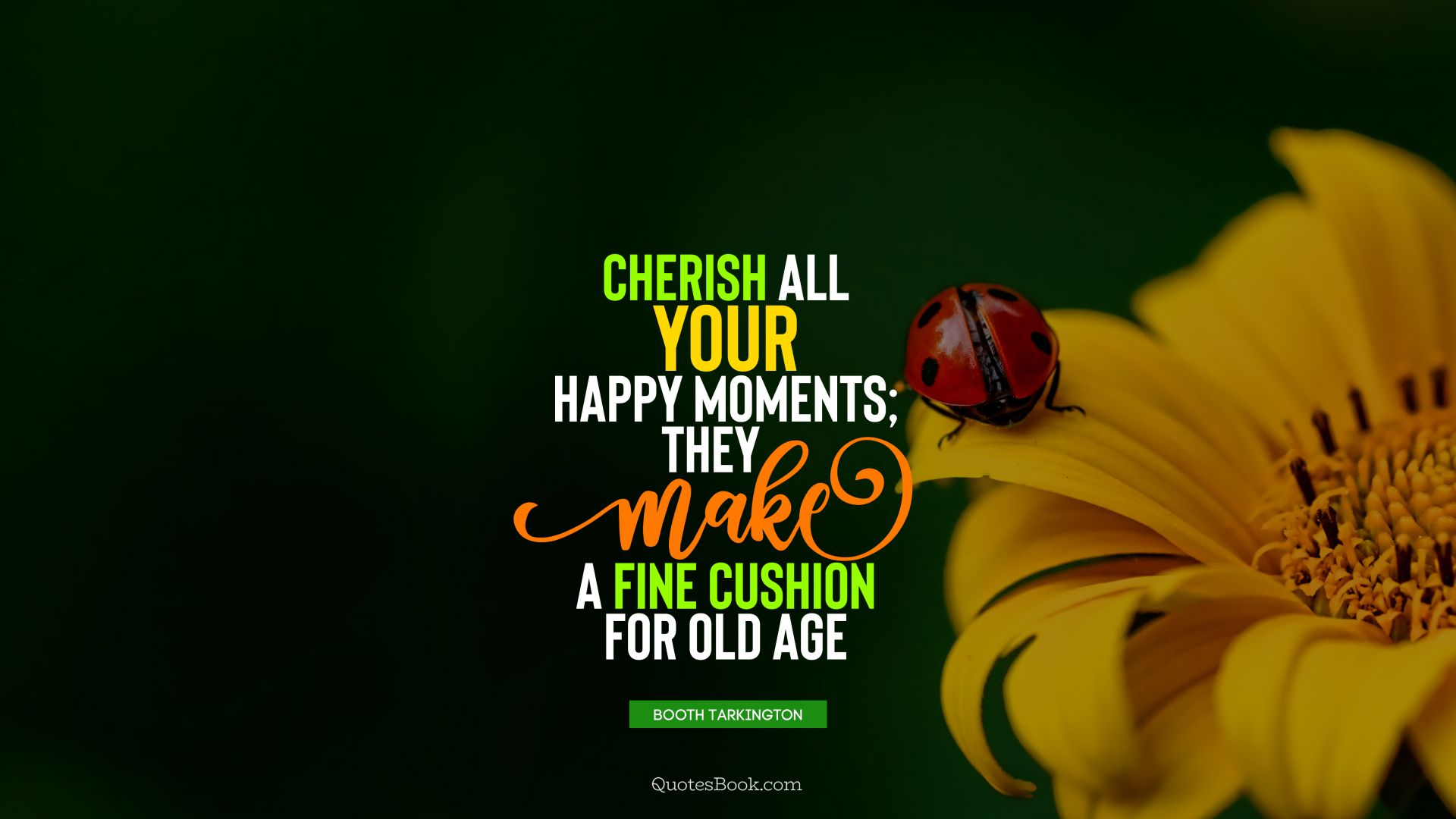 Cherish all your happy moments; they make a fine cushion for old age. - Quote by Booth Tarkington