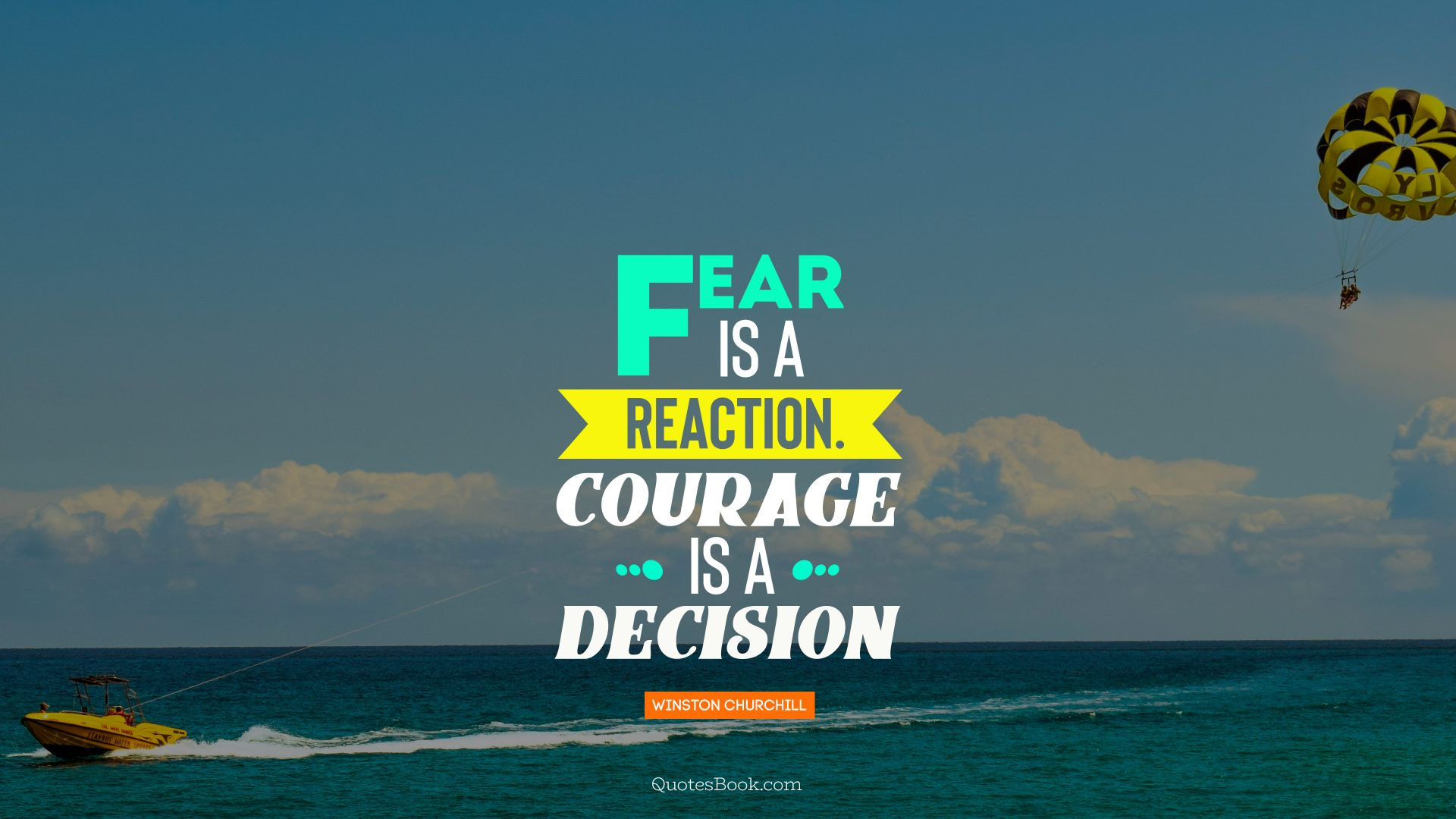 Fear is a reaction.Courage is a decision. - Quote by Winston Churchill