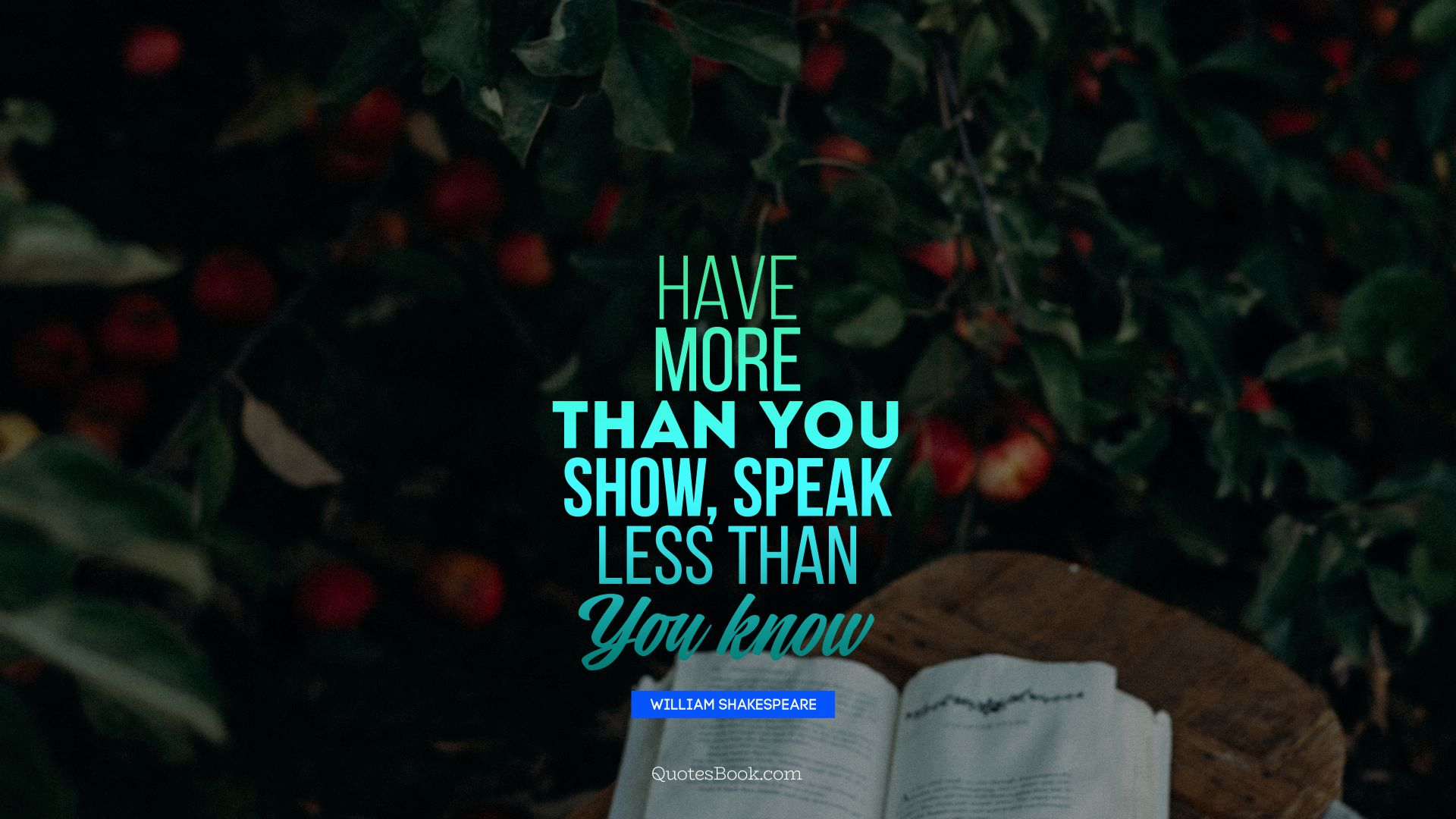 Have more than you show, speak less than you know. - Quote by William Shakespeare