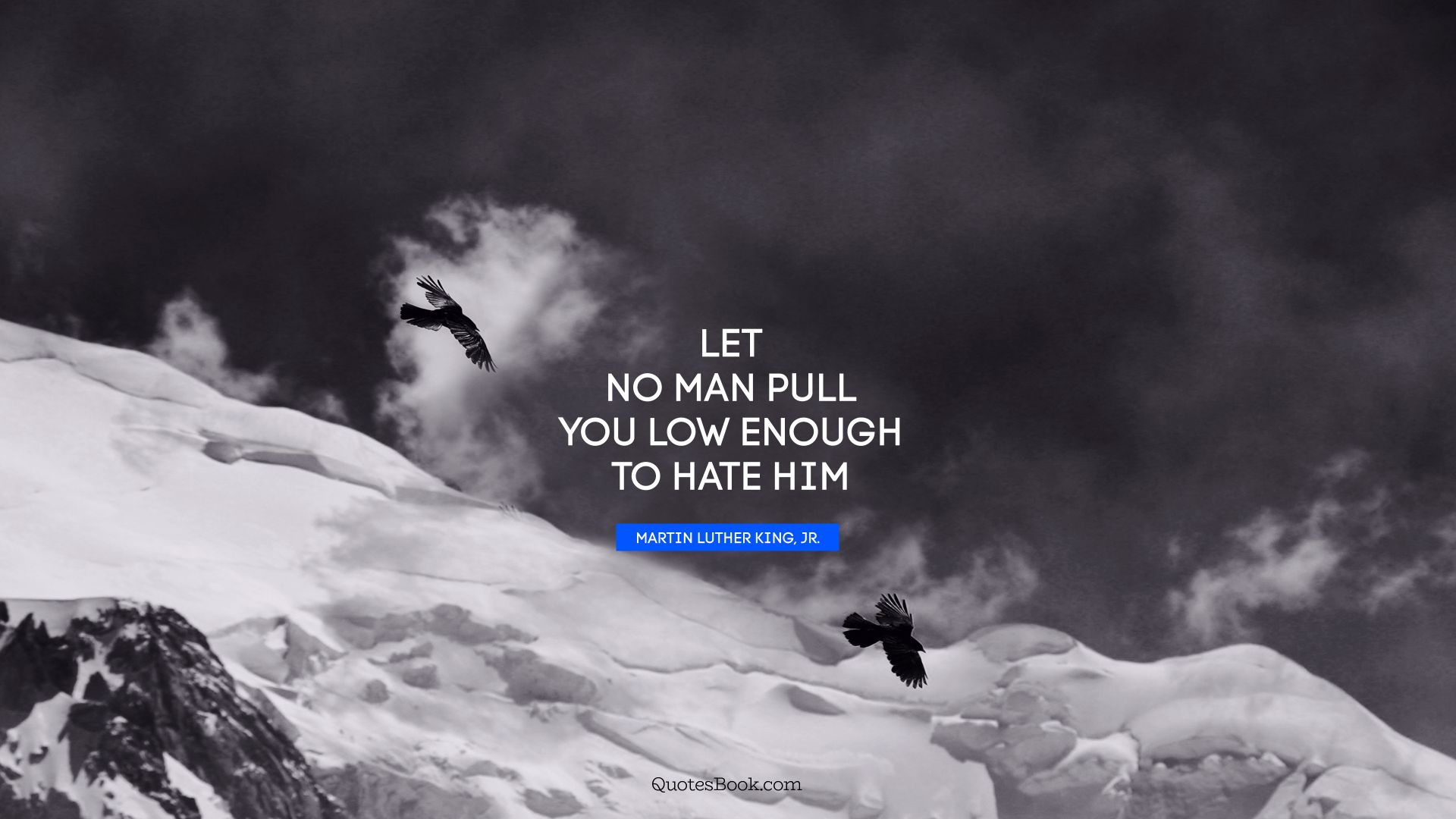 Let no man pull you low enough to hate him. - Quote by Martin Luther King, Jr.