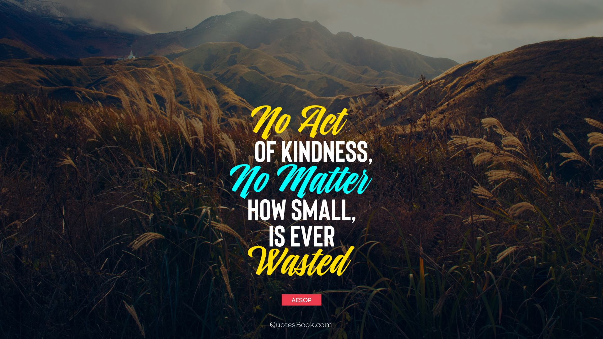 No act of kindness, no matter how small, is ever wasted ...