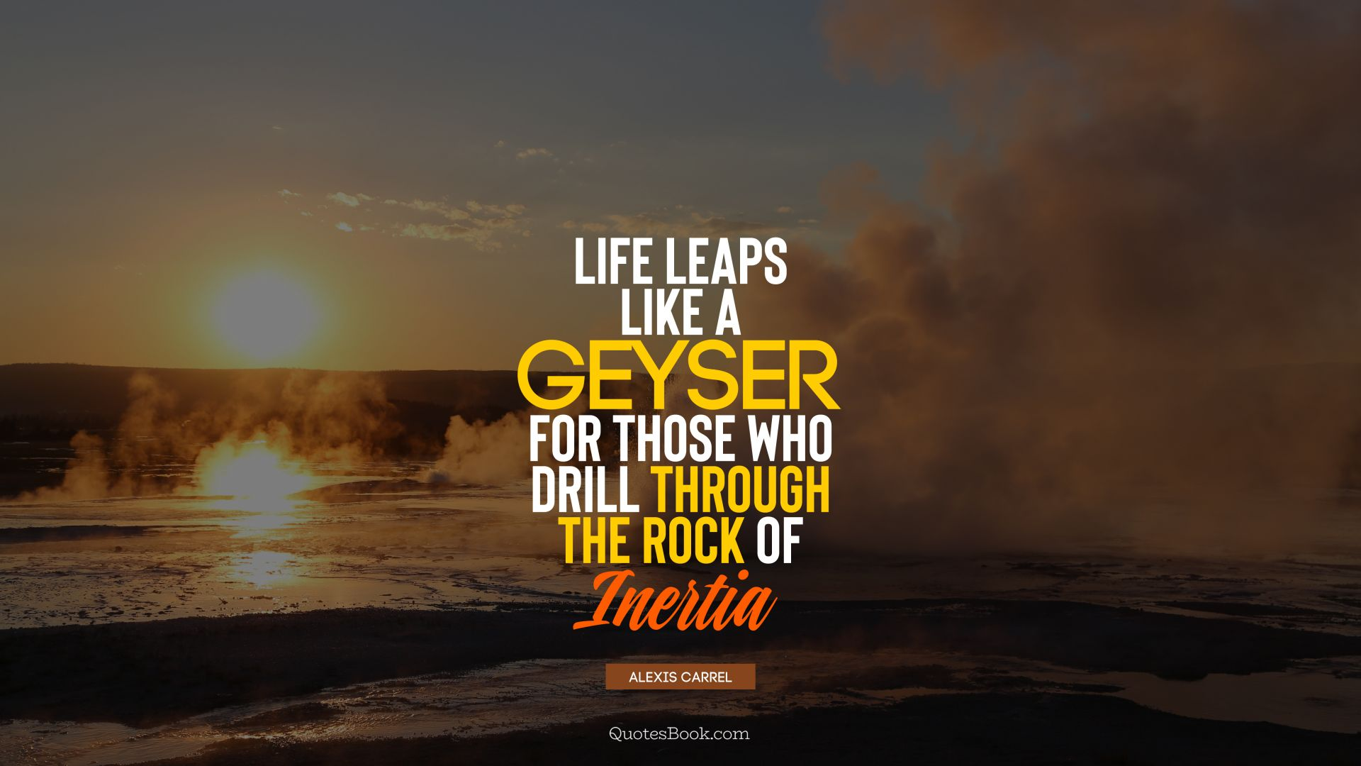 Life leaps like a geyser for those who drill through the rock of inertia. - Quote by Alexis Carrel