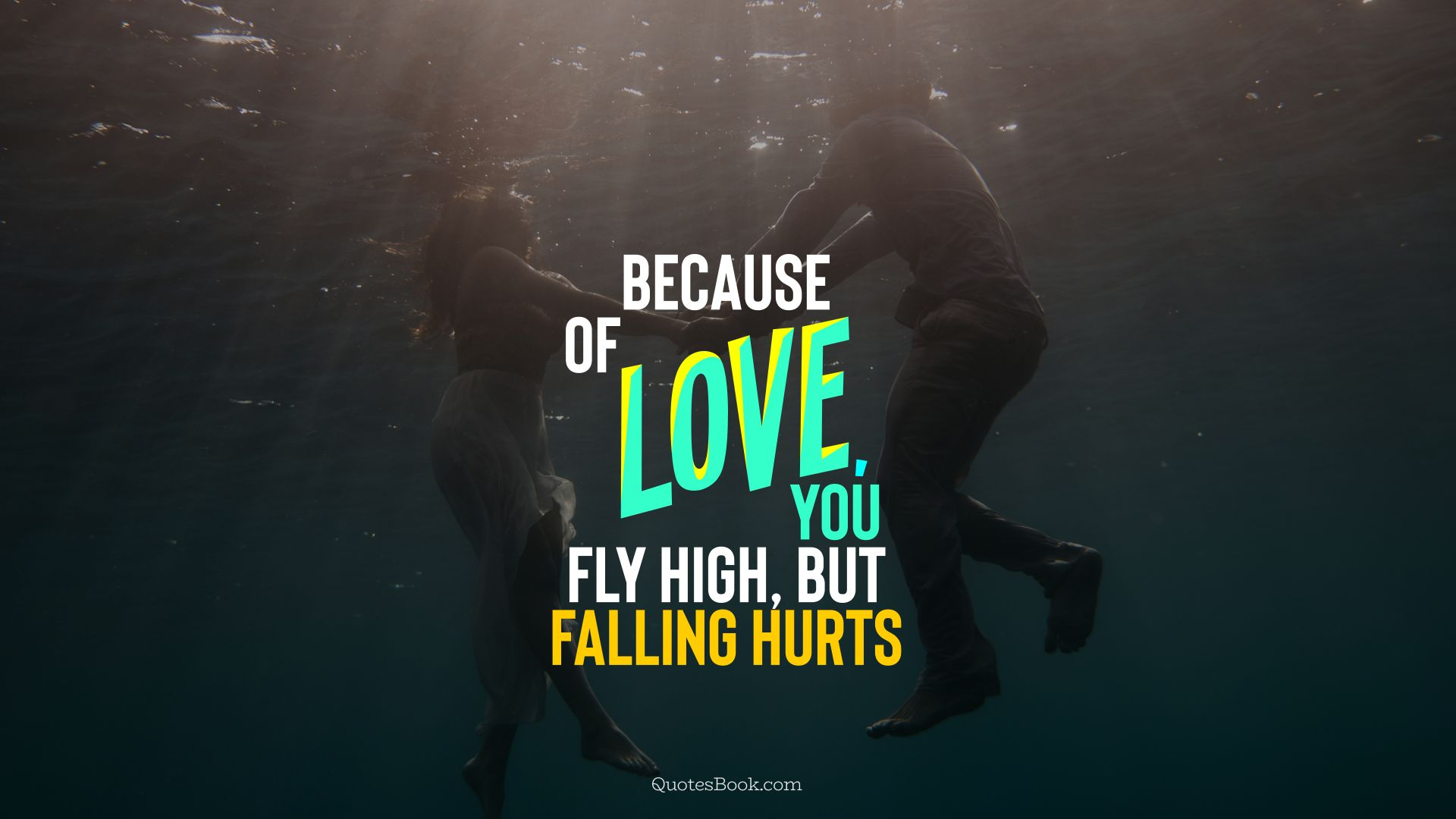 Because of love, you fly high, but falling hurts. - Quote by QuotesBook