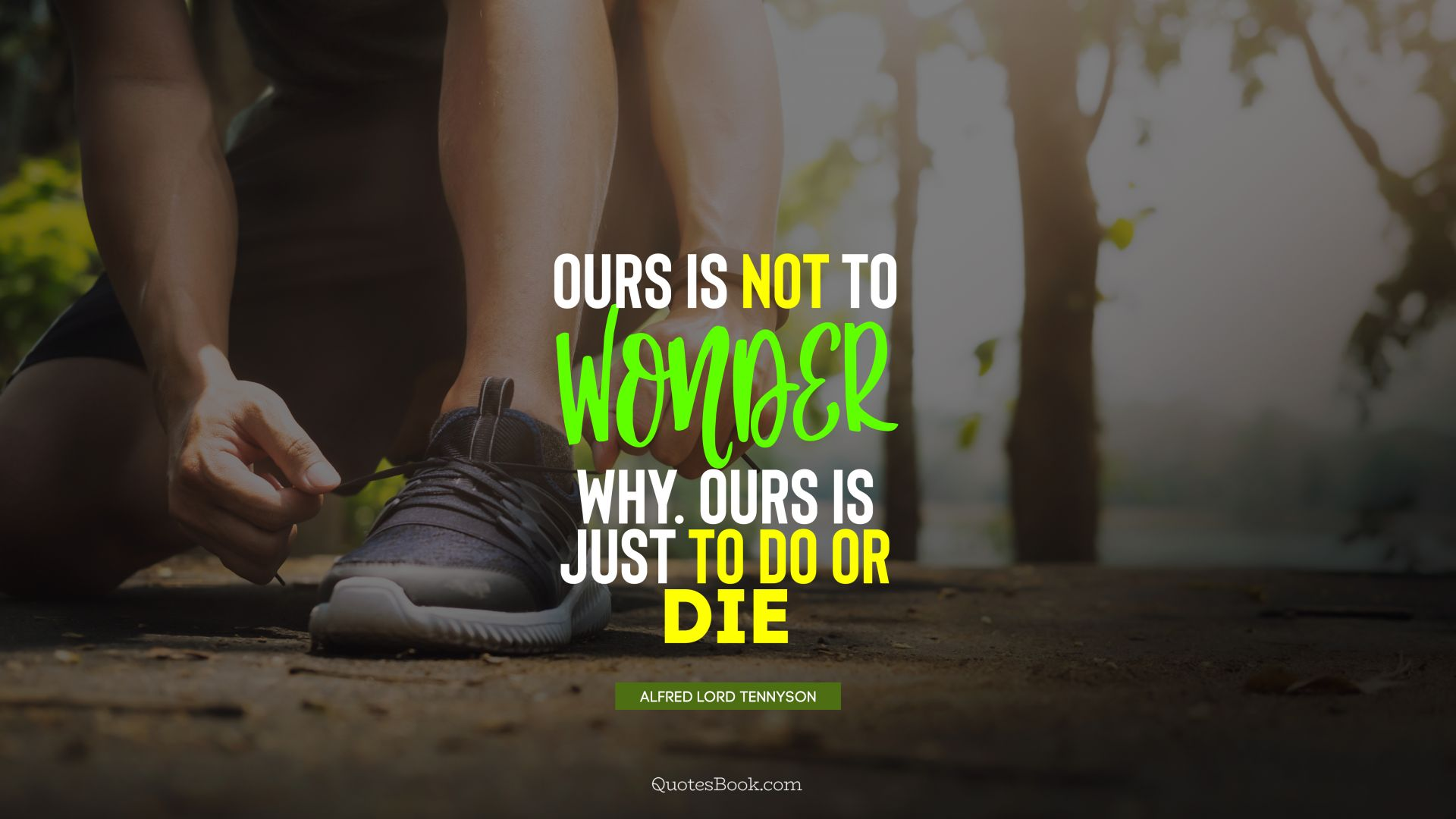 Ours is not to wonder why. Ours is just to do or die. - Quote by Alfred Lord Tennyson