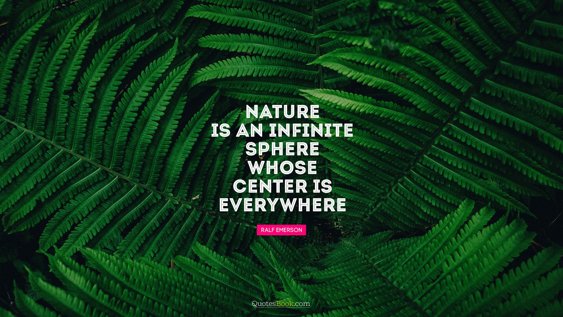 Nature is an infinite sphere whose center is everywhere. - Quote by Ralph Waldo Emerson