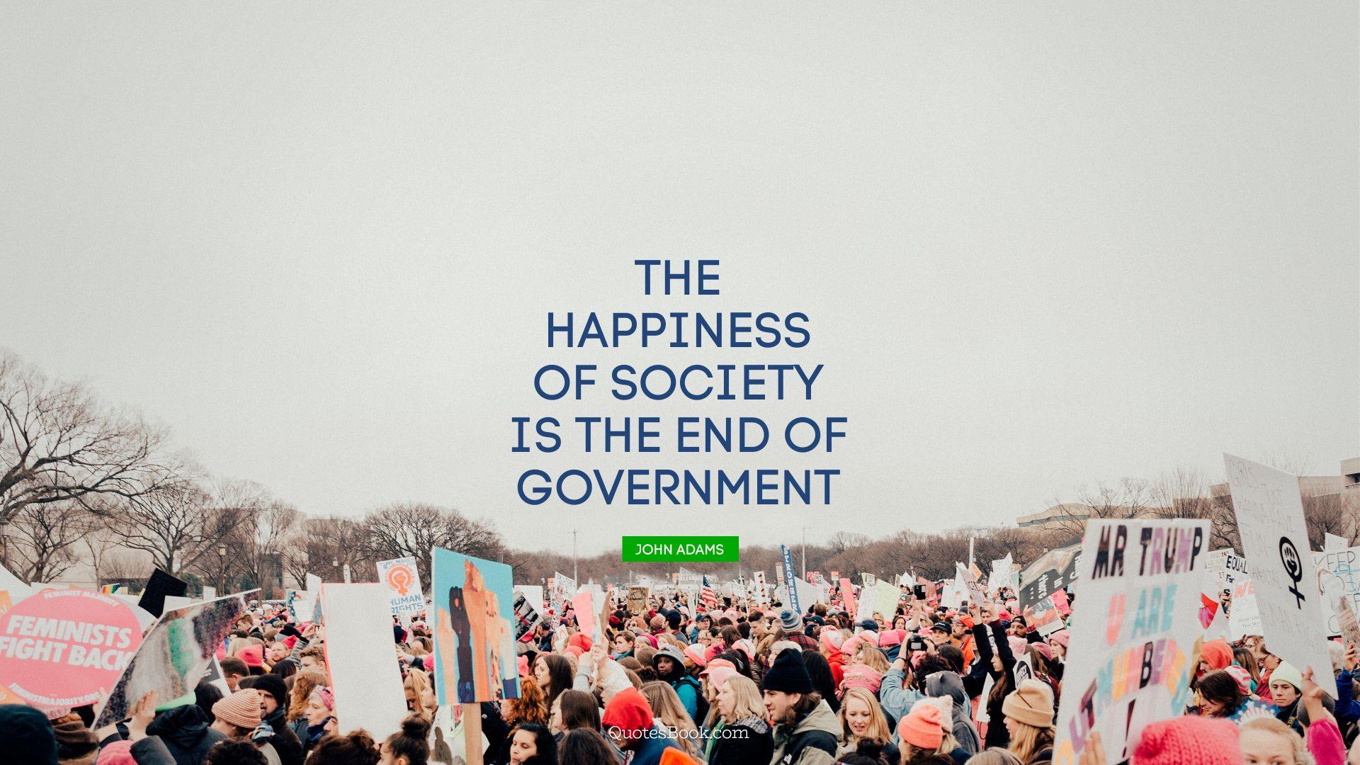 The happiness of society is the end of government. - Quote by John Adams