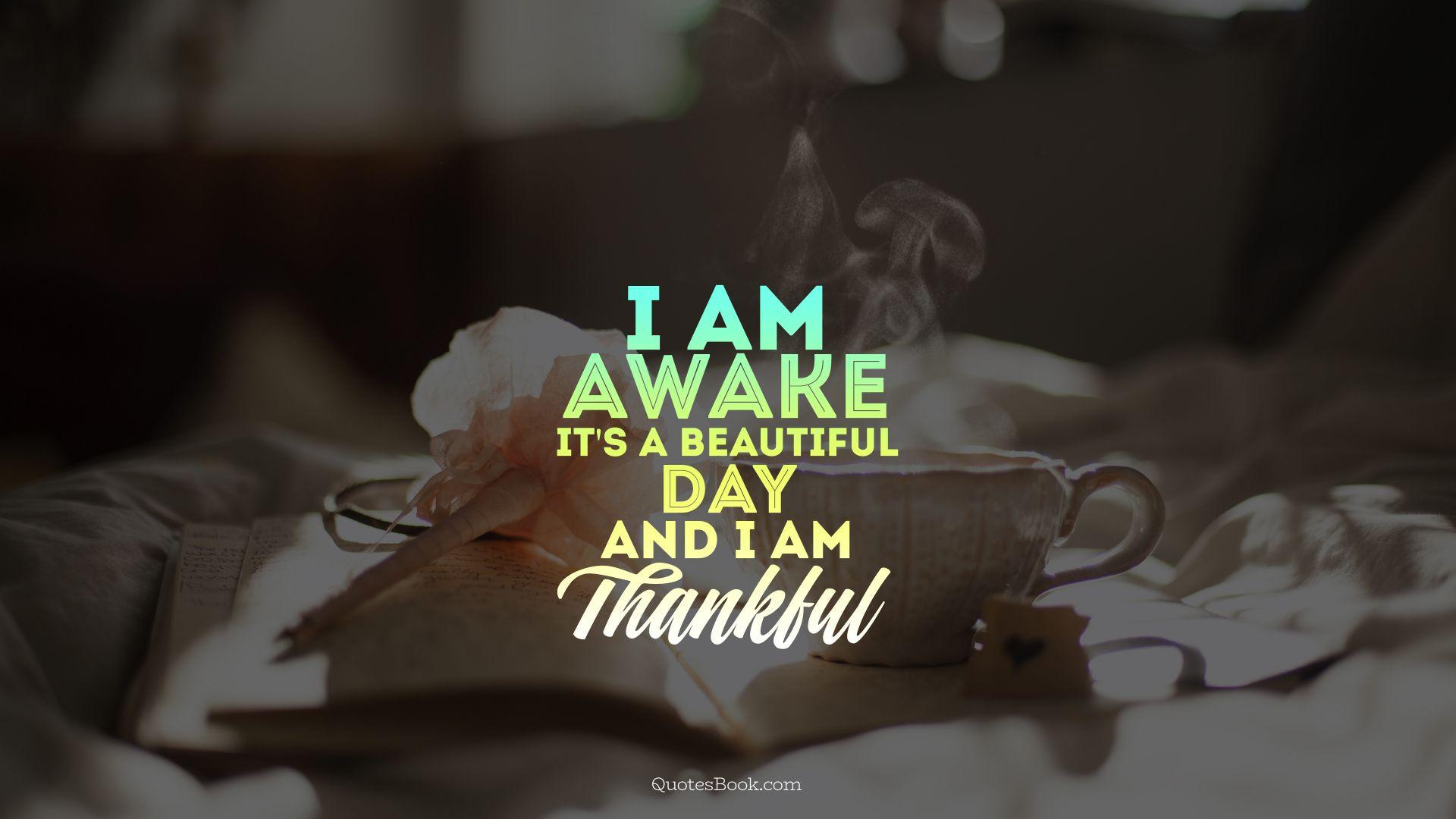 I Am Awake Its A Beautiful Day And I Am Thankful Quotesbook