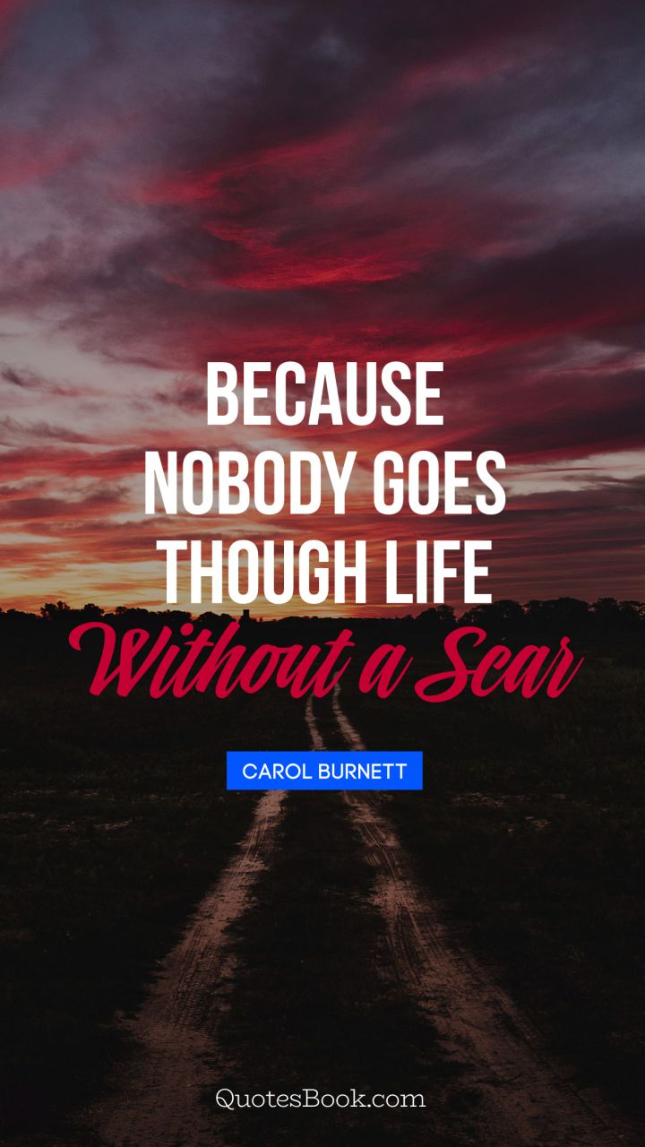 Because nobody goes through life without a scar. - Quote by Carol Burnett