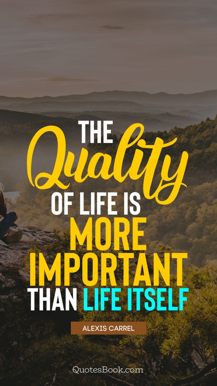 The Quality Of Life Is More Important Than Life Itself Quote By