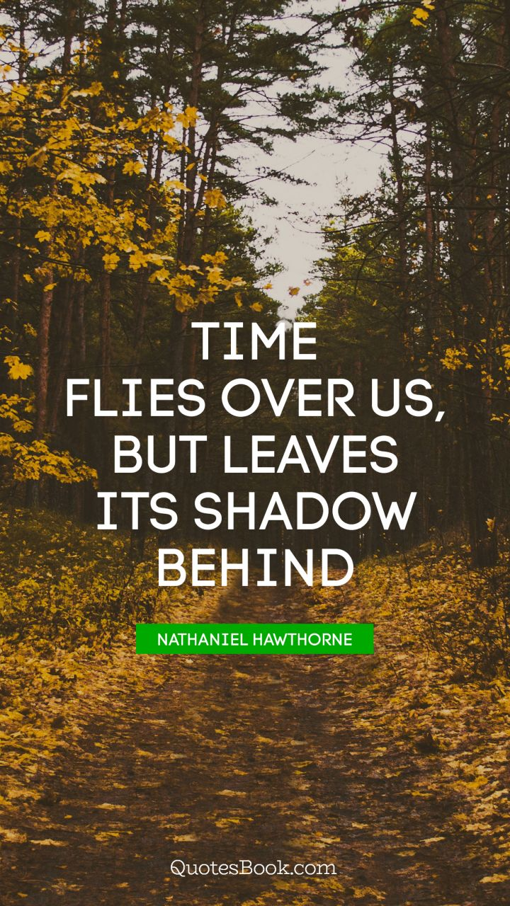 Time Flies Over Us But Leaves Its Shadow Behind Quote By