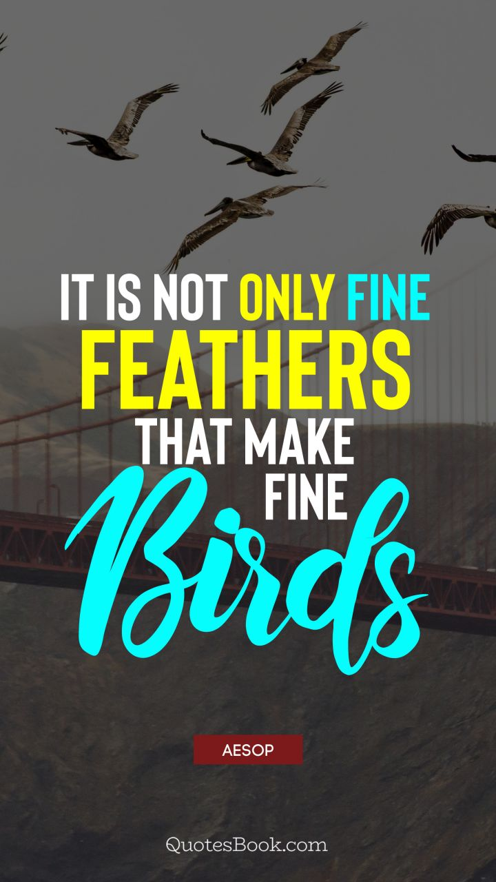 It is not only fine feathers that make fine birds. - Quote by Aesop