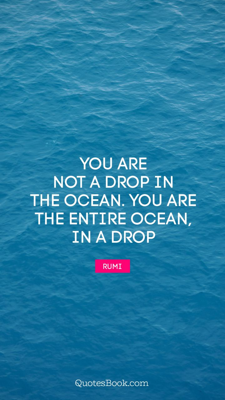 You are not a drop in the ocean. You are the entire ocean, in a drop. - Quote by Rumi