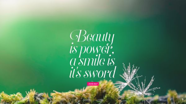 Beauty Quote - Beauty is power, a smile is it's sword. John Ray