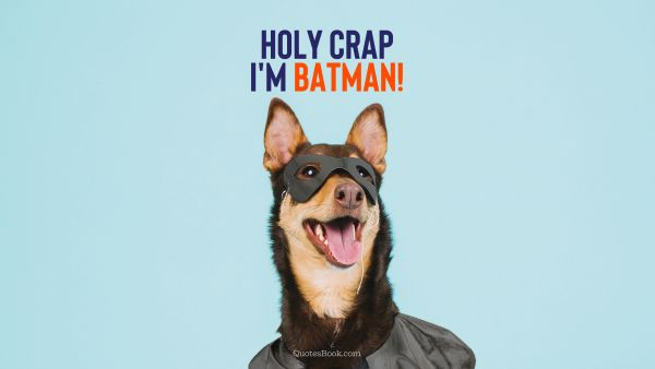 Holy crap I'm batman!