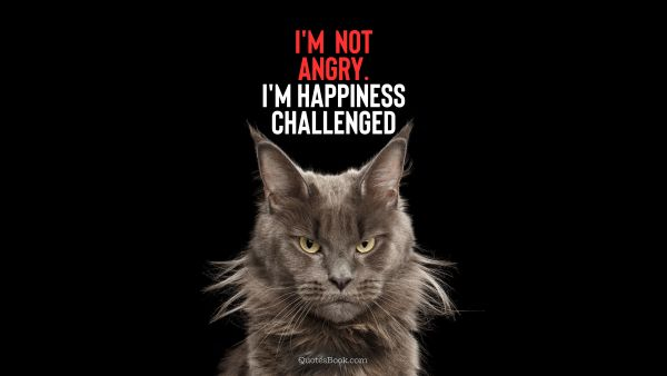 I'm not angry. I'm happiness challenged