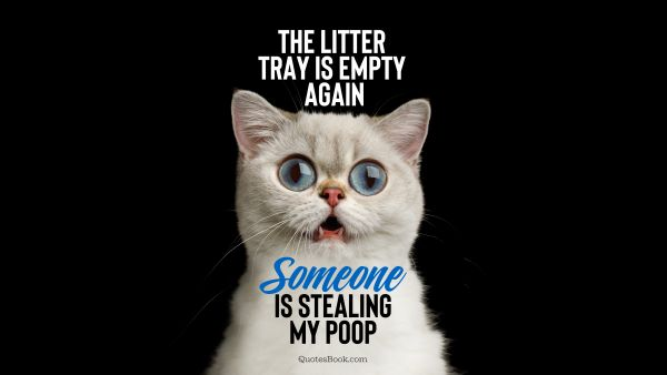 Memes Quote - The litter tray is empty again someone is stealing my poop. Unknown Authors