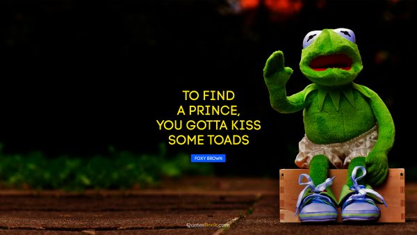 Funny Quote - To find a prince, you gotta kiss some toads. Foxy Brown