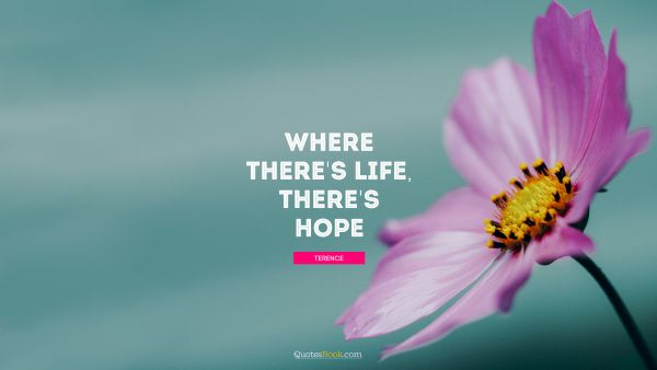 Hope Quote - Where there's life, there's hope. Terence