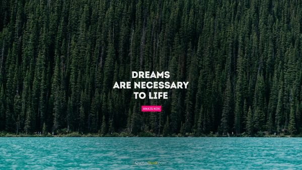 Dreams are necessary to life