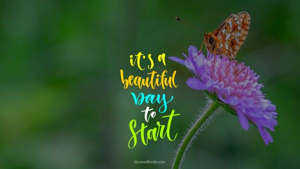 Inspirational Quote - It's a beautiful day to start. Unknown Authors