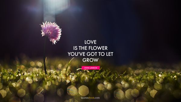 Inspirational Quote - Love is the flower you've got to let grow. John Lennon