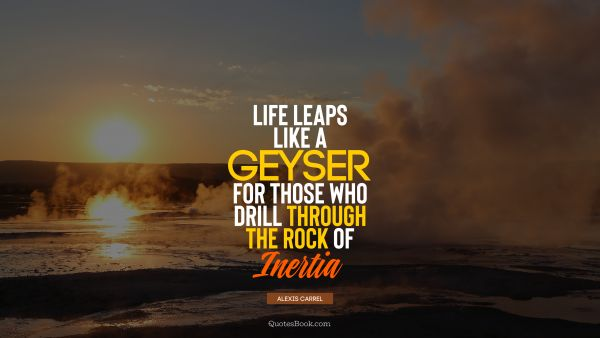 Life leaps like a geyser for those who drill through the rock of inertia