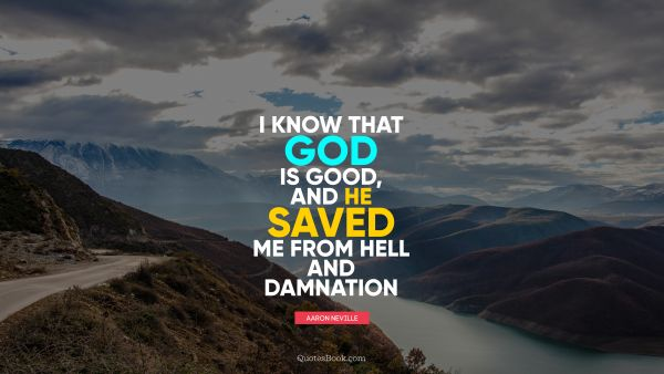 Religion Quote - I know that God is good, and he saved me from hell and damnation. Aaron Neville