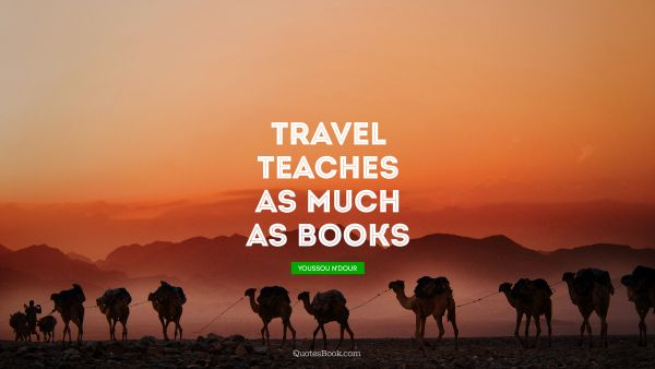 Travel Quote - Travel teaches as much as books. Youssou N'Dour