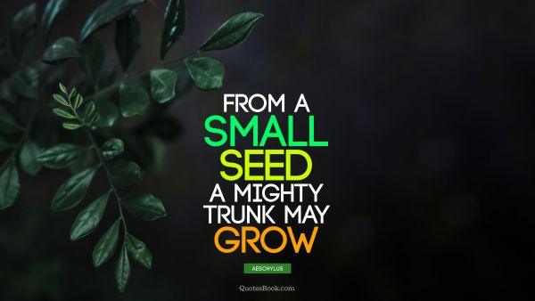QUOTES BY Quote - From a small seed a mighty trunk may grow. Aeschylus