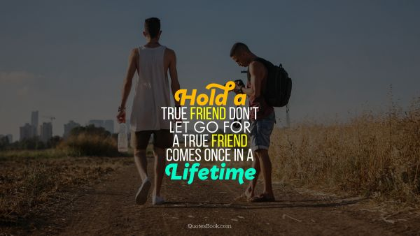 Hold a true friend don't let go for a true friend comes once in a lifetime