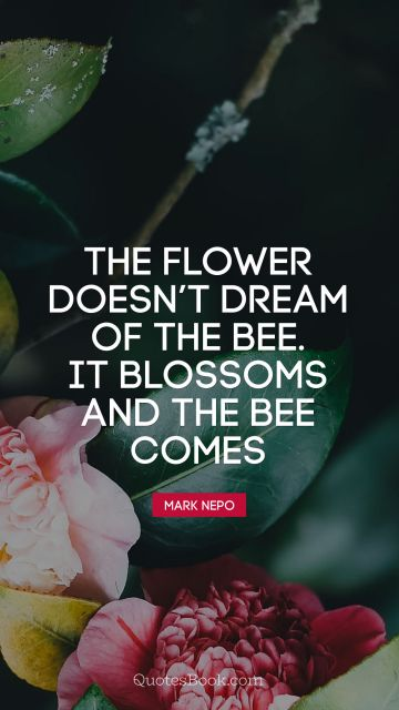 RECENT QUOTES Quote - The flower doesn't dream of the bee. It blossoms and the bee comes. Mark Nepo