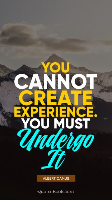You cannot create experience. You must undergo it