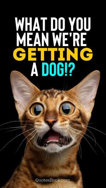 Memes Quote - What do you mean we're getting a dog!?. Unknown Authors