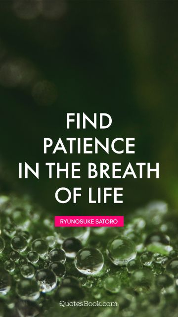 Find patience in the breath of life