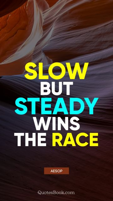 QUOTES BY Quote - Slow but steady wins the race. Aesop