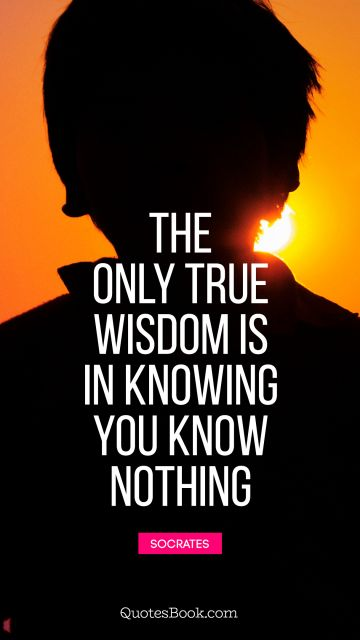 The only true wisdom is in knowing you know nothing